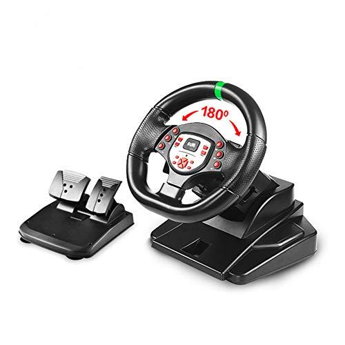 WDLY 180 Degrés Moteur Vibration Au Volant De Jeu Volant De Course, avec Et Vitesse Responsive Pédales Compatible pour PS4 / PS3 / PC/Android/Xbox One/Xbox 360 / CONTACTEUR NS-