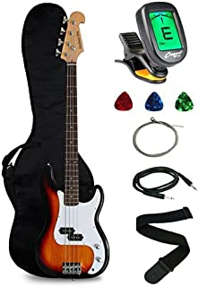 Crescent Electric Bass Guitar Starter Kit - Sunburst Color (Includes CrescentTM Digital E-Tuner)