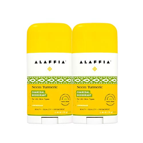 Alaffia EveryDay Coconut Deodorant - Activated Charcoal, Odor Protection and Soothing Support from Shea Butter and Aloe Vera, Without Aluminum, Sulfates, or Parabens, BERGAMOT, 2 Pack)