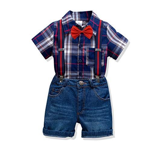 Ensemble Manches Courtes Summer Boys T-Shirts bébé d'été en Coton à Carreaux avec Costume de Gentleman pour Enfants avec décoration à Bracelet en Denim pour Les Loisirs Sportifs d'été