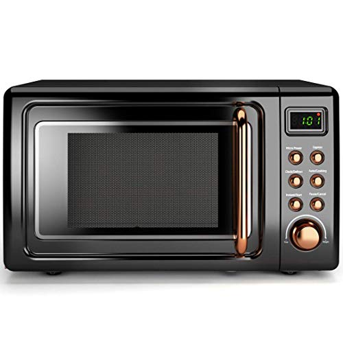 COSTWAY Retro Countertop Microwave Oven, 0.7Cu.ft, 700-Watt, Cold Rolled Steel Plate, 5 Micro Power, Delayed Start Function, with Glass Turntable & Viewing Window, LED Display, Child Lock (Gold)