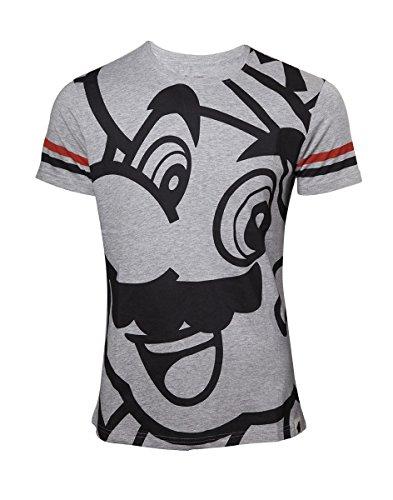 Super Mario T-Shirt Nintendo Mario Face Homme Gris