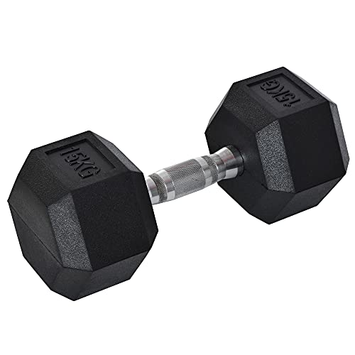 HOMCOM Gummi-Hantel Fitness Hantel Kurzhantel für Trainingsraum Büro sechseckige Form Metall Gummi schwarz 15 KG