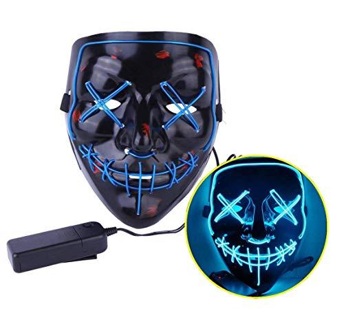 Ptsaying Halloween Led Maske, Led Purge Maske leuchten Maske gruseligsten Halloween-Maske für Erwachsene, Männer und Frauen. (Blau)