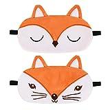 SUI-lim - Antifaz para dormir para niños, 2 unidades, diseño de zorro, protector de ojos, parche para los ojos, cómodo y transpirable