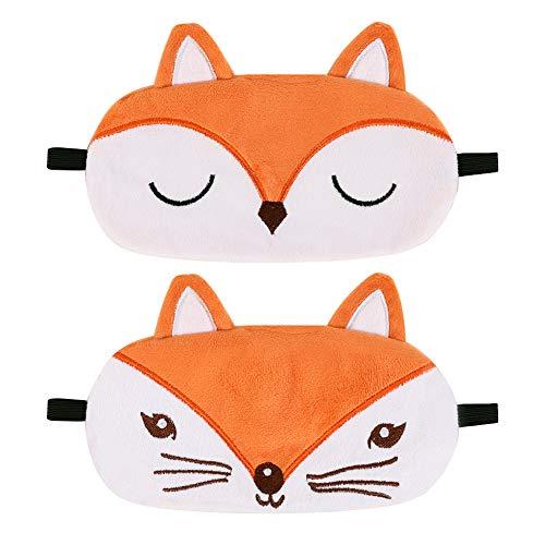 SUI-lim 2 Stück Schlafmaske Kinder Augenmaske, Nette Flauschige Tierfuchsaugenmaske 3D, Augenklappe, Komfortabel & Atmungsaktiv, für das Schlafenreisen
