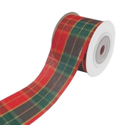 FS Geschenkband mit Schottenkaro, 9,1 m x 35 mm, Goldfarben, Rot / Gold / Grün