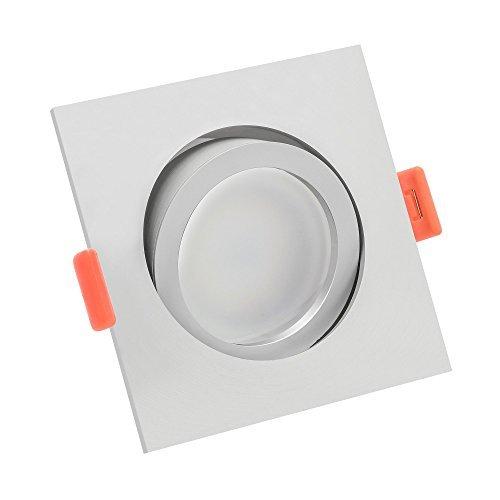LUXVENUM® | 5x dimmbare, ultra flache (25mm) LED Einbau-Strahler | 6W statt 70W | 230V | 3000 Kelvin | Eckige Leuchtdiode aus matt-geschliffenem Aluminium | 5er Set Forma warmweiß 3000K