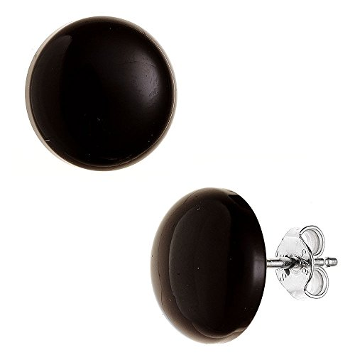 Orecchini in onice, 10 mm, argento 925, neri, rotondi, da donna