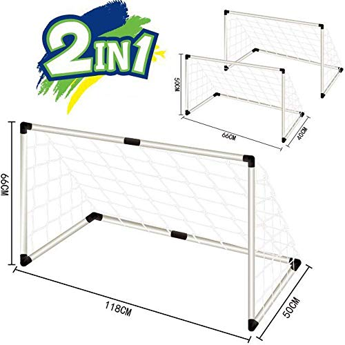 Inside Out Toys Childrens, Kids Football Goal Set for the Garden or Indoors - 2 in 1 Goal Set Nets and Ball