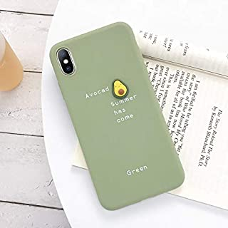 NiceGuu 3D Candy Color Avocado Letter Soft Phone Case for iPhone 11 Pro XS MAX XR X Silicone Case for iPhone 7 8 Plus Cover (S3, for iPhone 7plus 8plus)