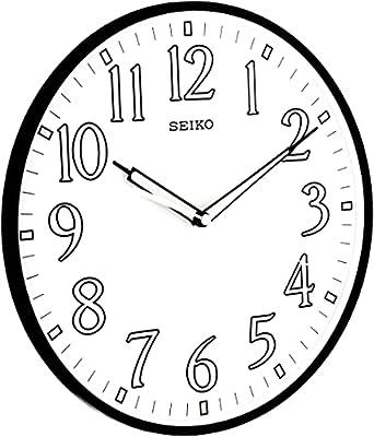 "Seiko 12"" Black Framed Luminous Numbered Wall Clock from Seiko"
