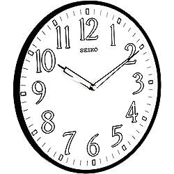 Seiko 12 Black Framed Luminous Numbered Wall Clock