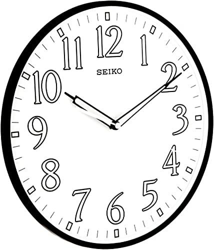 Seiko 12' Black Framed Luminous Numbered Wall Clock