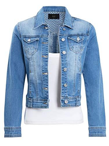 SS7 Womens Denim Jacket in Stretch Stonewash Blu