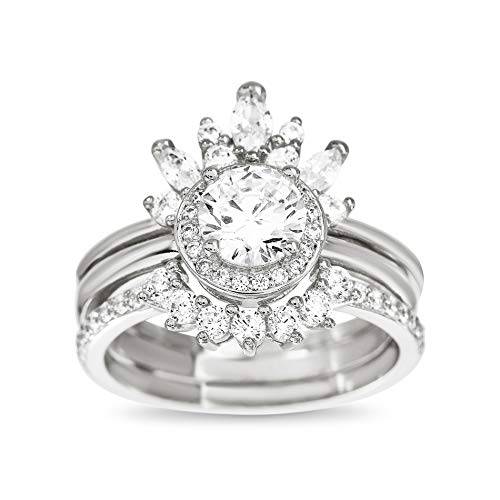 TwoBirch Sterling Silver Cubic Zirconia Delicate Tiara Floral Design Border Ring Guard Round Halo Engagement Ring CZ Duo Stackable Ring Set (Size 9)