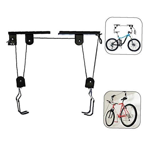 Liadance Techo de Bicicletas Grúa de Techo de suspensión de la Bicicleta con Gancho y la Cuerda de Techo de Frenos montado elevación de la Bici de poleas