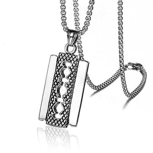 Persönlichkeit Kreative Retro Rasiermesser Halskette Hip Hop Trend Party Punk Anhänger Halskette für Männer Schmuck-Altes Silber,60cm