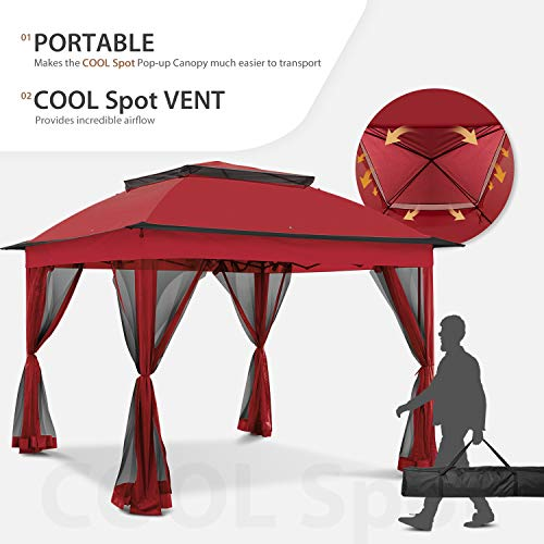COOL Spot 11'x11' Pop-Up Gazebo Tent Instant with Mosquito Netting Outdoor Gazebo Canopy Shelter with 121 Square Feet of Shade (Red)