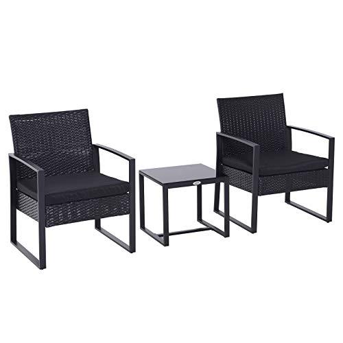 Outsunny Conjunto de Jardín Exterior Negro Conjunto de Muebles de Jardín de Ratán 3 Piezas 1 Mesita 2 Sillones para Exterior y Aire Libre Desmontable Color Negro