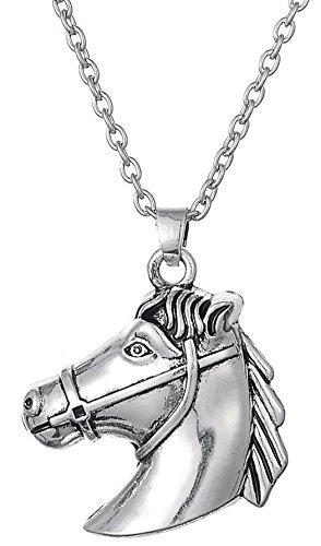 Lemegeton - Collana con ciondolo a forma di testa di cavallo, stile vintage etnico, ideale come regalo per ragazze e ragazze