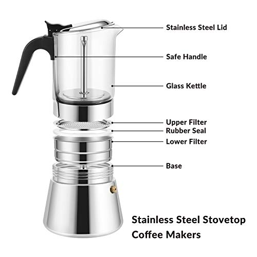GEESTA Premium Crystal Glass-Top Stovetop Espresso Moka Pot -4/6 cup - Stainless Steel Coffee Maker - 240ml/8.5oz/6 cup (espresso cup=40ml)