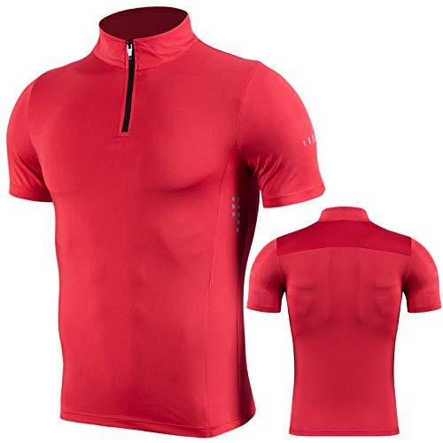 2020 Nueva Ropa de Fitness con Cremallera de Cuello Alto para Hombre Camiseta Deportiva de Secado rápido Flaca Camiseta Casual para Correr al Aire Libre