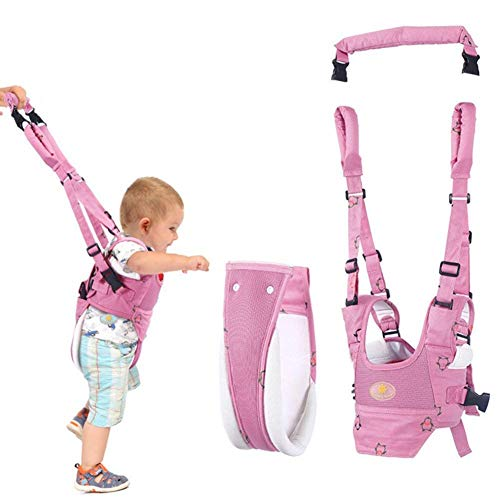 Baby Walker Toddler Walking Assistant, Lungeo Handheld Stand Up and Walking Learning Leash Kids Safety Breathable Walking Harness Walker for Baby 6-27 Months (Pink)