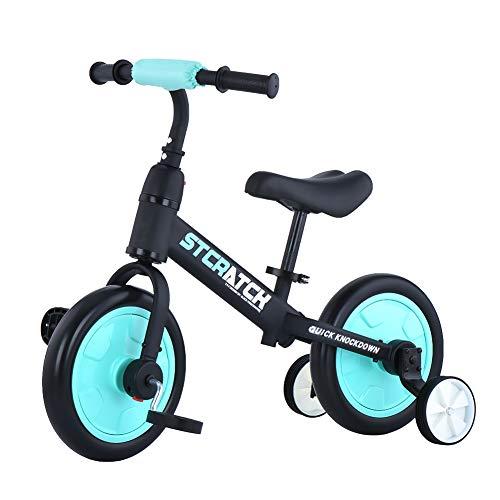 ZavoFly Vélo d'équilibre de 12 po pour Enfants de 2, 3, 4 et 5 Ans, garçon, vélo de Marche pour Tout-Petit 4 en 1 avec Roues et pédales d'entraînement, Assemblage Facile (JL101, Bleu Clair)