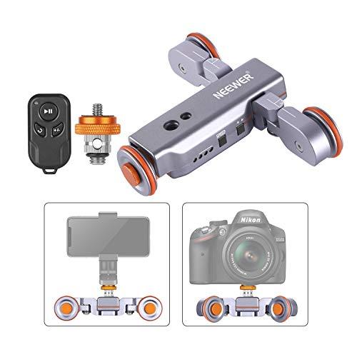 Neewer 3 Räder Funk Kamera Video Auto Dolly Motorisierte Schiene Slider mit Fernbedienung einstellbare Geschwindigkeit für DSLR-Kamera Camcorder GoPro iPhone Android Handys (Silber)