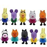 Row_120cc 10 Figuras de Peppa Pig, Juguetes y Amigos, Paquete de Figuras de Familia Emily Rebecca,...