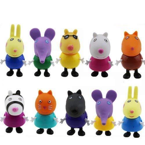 Row_120cc 10 Figuras de Peppa Pig, Juguetes y Amigos, Paquete de Figuras...