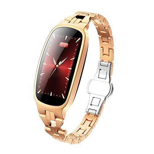Reloj inteligente para mujer, pulsera IP67, resistente al agua, monitor de frecuencia cardíaca, presión arterial, fitness, deportes femeninos, reloj inteligente para mujer (color oro)