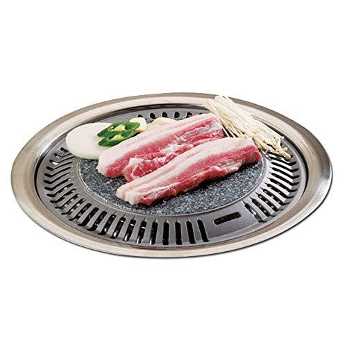 Korean BBQ Stone Grill BBQ Pan, Stone Plate Stovetop Barbecue Native Rock Steak Chicken Ribs Pork...