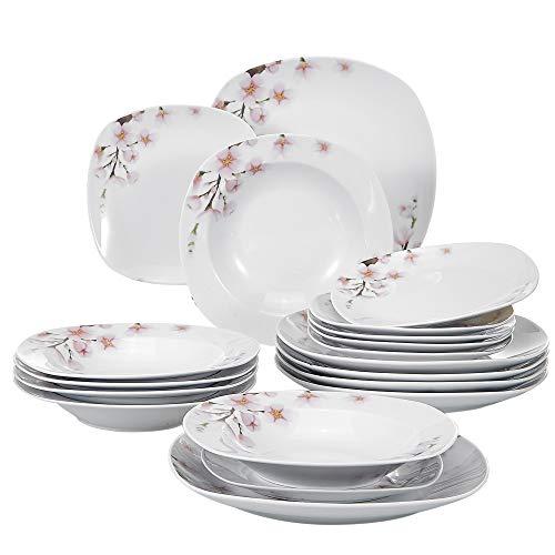 VEWEET Tafelservice \'Annie\' aus Porzellan 18 teilig | Tellerset für 6 Personen | Mit je 6 Dessertteller, Tiefteller und Flachteller