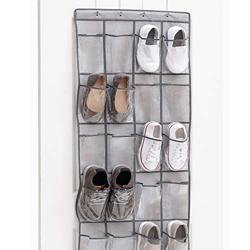 Gorilla Grip Premium Over The Door Clear Pocket Shoe Organizer 24 Large Durable Pockets Hooks for Hanging on Closet Doors Storage and Hang Organizers for Shoes Sneakers and Accessories Gray