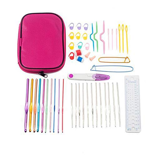 50 PCS DIY Crochet Kit, 22 Crochet Hooks and Sewing Accessories with Storage Case, Ergonomic Knitting Needles Craft Art Tools Suitable for Beginners and Crochet Lovers
