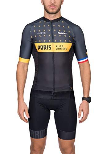 Camisa Ciclismo Supreme Paris Woom Homens P Preto/ Amarelo