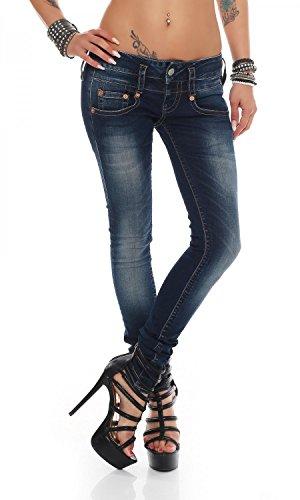 Herrlicher Damen Pitch Slim Jeans, Blau (Clean 051), W28/L30