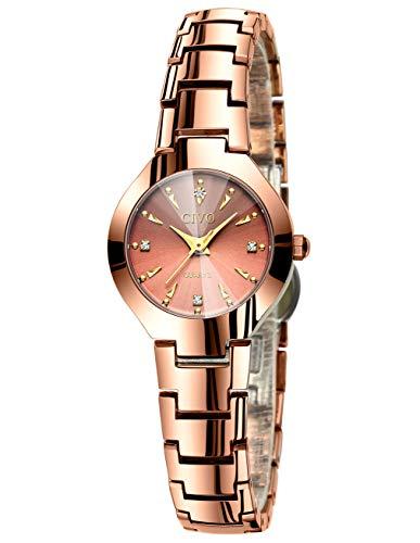CIVO Relojes para Mujer Reloj Mujers Impermeable Oro Rosa Elegante Banda de Acero Inoxidable Relojes de Pulsera de Señoras Moda Vestidos Negocio Casuales Reloj de Cuarzo