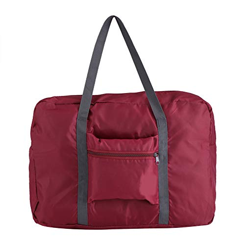Ladieshow Foldable Luggage Bag,Big Size Foldable Carry-On Duffle Bag Travel Luggage Carry Storage Bags Organizer(Wine Red)