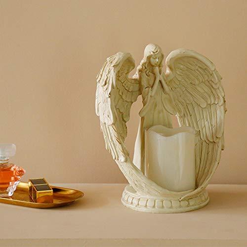 Elegante ángel rezando con corona de rosa LED en ángulo de luces de adorno regalo para madres, abuelas, estatua de ángel con vela LED de 15 cm