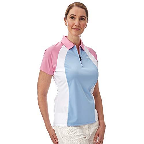 Under Par Damen Golf Pro Qualität Atmungsaktiv Wicking 5 Styles 10 Farben Ärmelloses & Ärmelloses Poloshirt 1673-Light Blue/White/Pale Pink