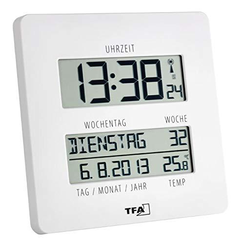 """TFA Dostmann 60.4509""""Time Line Funk-Wanduhr mit Temperatur und Wochentagsanzeige (Weiss mit Batterien)"""