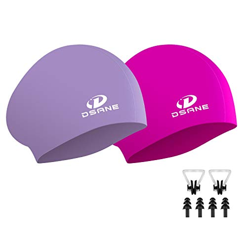 2 Pack Womens Silicone Swim Cap for Long Hair,3D Ergonomic Design Silicone Swimming Caps for Women Kids Men Adults Boys Girls with Ear Plug and Nose Clip