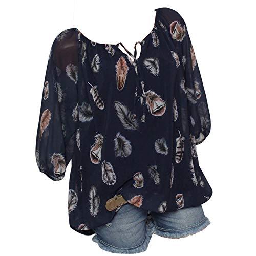 Petalum Damen Bluse Tops Hälfte Ärmel Feder Print V-Ausschnitt Blusentop Oversized Lässig Tunikabluse Casual Loose Locker Langarmshirt
