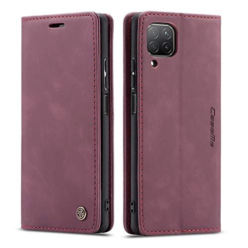 mvced Handyhülle Kompatibel mit Huawei Nova 6SE/P40 Lite 4G/Nova 7i,Premium Leder Flip Hülle Schutzhülle mit Standfunktion,Wein rot