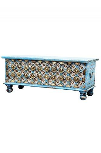 Marrakesch baúl Caja de madera burhan–2–116cm Grande | Vintage Asiento banco con almacenamiento para el piso |–Caja con tapa el baño | cama baúl como decoración Cojín Box o en el dormitorio
