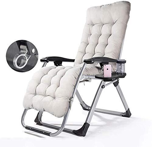 A-ZHP Plegable terraza sillón Puede acostarse y acostarse, con portavasos y el cojín móvil,Grey