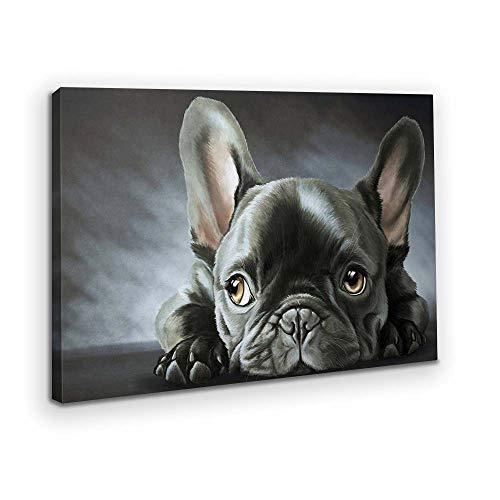 MKTOK Canvas Wall Art French Bulldog Breed Giclee Canvas Framed Wall Art for Livingroom Nursery Animal Wall Decor Grey 16'x24'